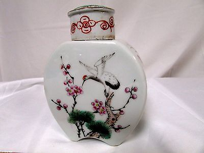 Chinese Republic Porcelain Tea Caddy Famille Rose Blossom Stork Singed