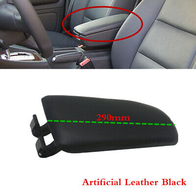 Black Leather Center Console Armrest Cover Lid For AUDI A4 S4 B6 B7 NEW 290mm