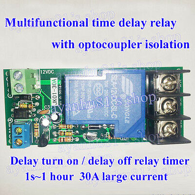 DC 12V Multifunction Delay Timing on/off Relay Module 30A Switch Timer 1s~1 hour