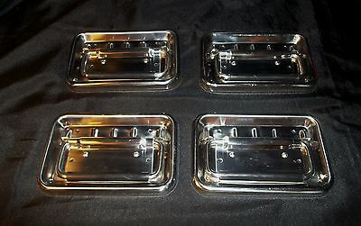 (1) Drawer Pulls Industrial Machine Age Chrome Heavy duty Large Rubber Handle