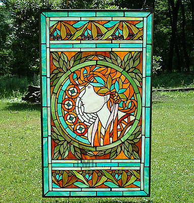 "20"" x 34"" Tiffany Style stained glass window panel Jeweled deco girl"