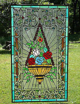 "20"" x 34"" Tiffany Style stained glass window panel Jeweled flower basket"