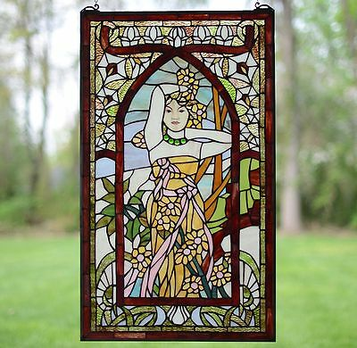 "20"" x 34"" Alphonse Mucha Daytime ART Deco Girl Stained Glass Window Panel"