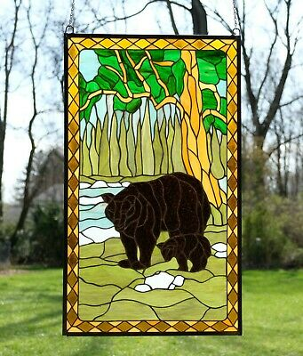 """20"""" x 34"""" Bear Mother and Son Handcrafted stained glass window panel"""