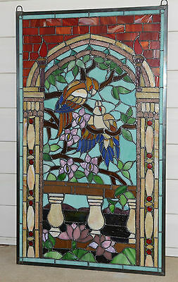 Large Tiffany Style stained glass window panel Love Bird Two Parrots on the Tree