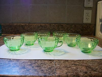 Vintage Federation Glass Co. Green Depression Cups Set of 7
