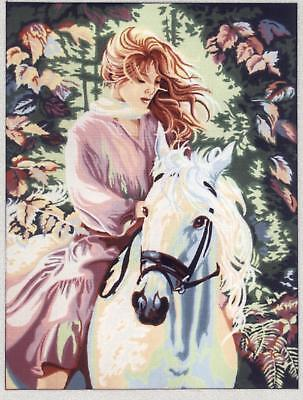 Gobelin L Printed Tapestry/Needlepoint Canvas - Pink Lady on White Horse