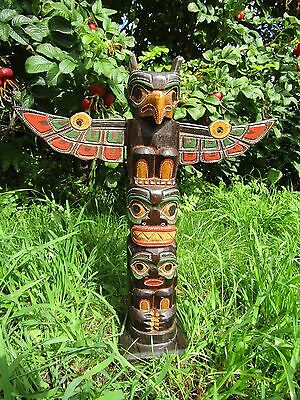 Fair Trade Wooden Hand Made Tribal Eagle American Indian Ethnic Totem Pole 40cm