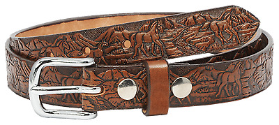 "BELT 1"" AMISH HAND-CRAFTED EMBOSSED 10oz ENGLISH BRIDLE LEATHER 5 STYLES YOUTH"