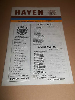 Whitehaven V Rochdale Hornets ~ Original Rugby League Programme 1971