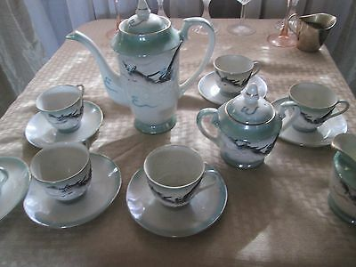 Vintage Kutani Dragonware Moriage Hand Painted Tea Set w/ Raised Dragon