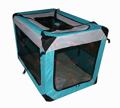 50CM Pet Dog Soft Crate Portable Carrier Travel Cage Kennel Folding SMALL Aqua