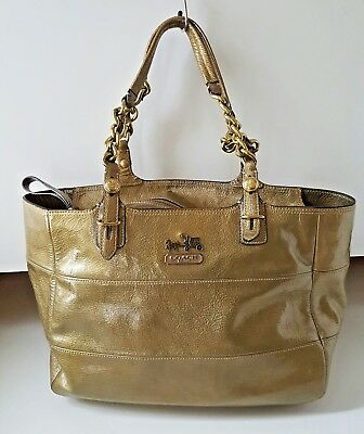 d30c385529b7 Coach E0973-14120 Madison Tribeca Lady s Gold Metallic Leather Tote  Shoulder Bag