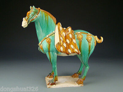 Treasures Eximious Valuable Chinese Tang SanCai Pottery Aga War Horse Statue