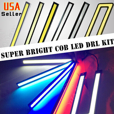 1 2 4 10 Pairs Multicolor Waterproof Car COB LED DRL Fog Driving Lights Lamp 12V
