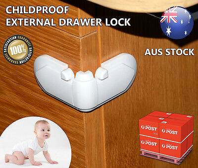 4 x Cupboard Lock Baby Proof Safety Drawers Draw Cabinet Children NEW Pack