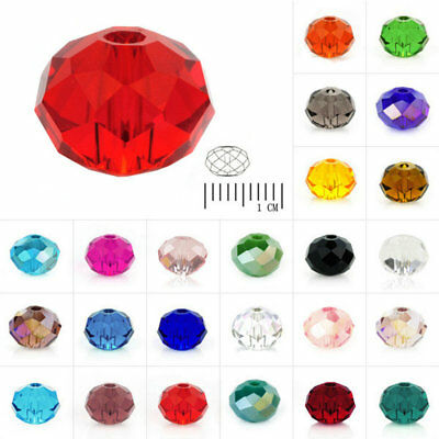 100pc DIY Rondelle Crystal Loose Beads fit Jewelry Making 6mm