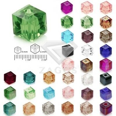 100pcs DIY Spacer Crystal Cube Square Beads hole1mm fit Jewelry Making 4mm