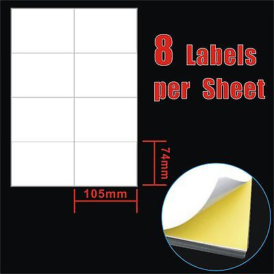 100 Sheets 10.5x74cm 8 Labels Per Page Quality A4 Shipping Label Laser Inkjet
