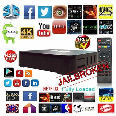 Android TV Box 4K Quad Core Wifi Fully Loaded KODI 16.1 XBMC Free Sports Movies