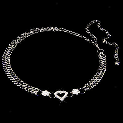Women's Diamante Crystal Rhinestone Heart Belt WAIST HIP BELLY BODY CHAIN