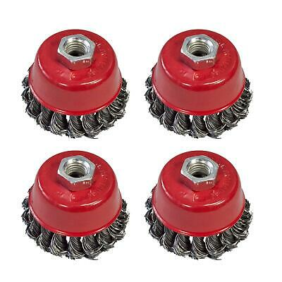 "4 x Twist Knot Wire Wheel Cup Brush 3"" M14 for 4.5"" 115mm 9"" Angle Grinder"