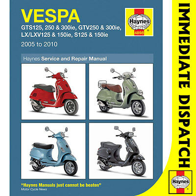 [4898] Vespa GTS GTV LX S 125-300cc Scooter 2005-14 Haynes Workshop Manual