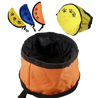 Fabric Folding Dog Bowl Fold-Up Collapsible Food Water Travel Pet Drinking Cat