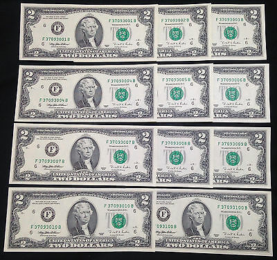 Set of TWELVE $2 Two Dollar Bills with Cool Serial Numbers, Crisp Uncirculated