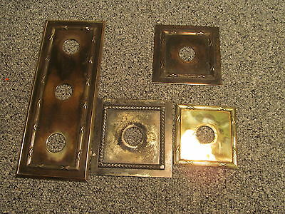 4 c1910-30s BRASS WALL LIGHT SWITCH FINGER PLATES JOB LOT