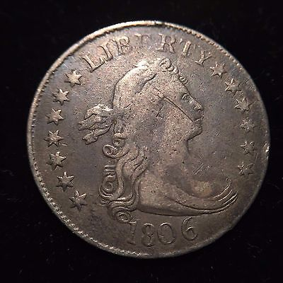 1806 Draped Bust Quarter F/VF Very Fine Liberty 25c Dollar Silver Flowing Hair