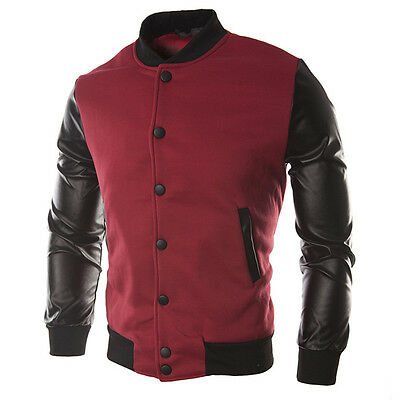 Fashion Mens Baseball Varsity Jacket Sweater Tops Coat Warm Sports