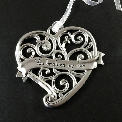 Heart Ornaments  Friendship Love Romance Gift Rhinestone Silver GANZ New