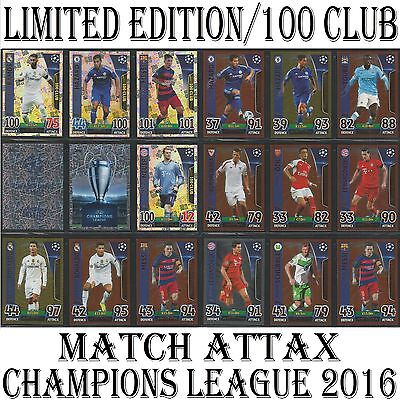 LIMITED EDITION / 100 CLUB 2016 Champions League Topps Match Attax cards