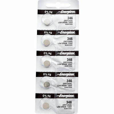 5 x Energizer 346 Watch Batteries, 0% MERCURY equivilate SR712SW
