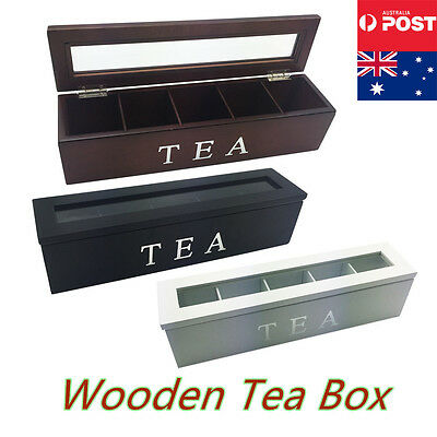 5 Compartment Wooden Tea Box Storage Antique Chest Tin Caddy with Glass Tea