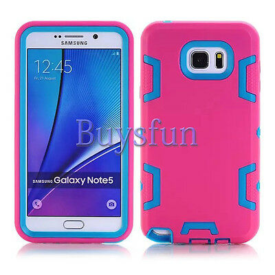 Hot Pink/Light Blue Hybrid Rugged Hard Cover Case For Samsung Galaxy Note 5