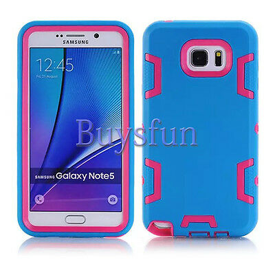 Light Blue/Hot Pink Hybrid Rugged Hard Cover Case For Samsung Galaxy Note 5
