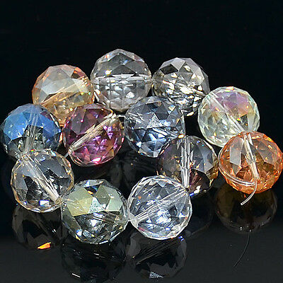 Faceted Multi-Color AB Quartz Crystal Round Beads 10PCS 16mm & 20mm