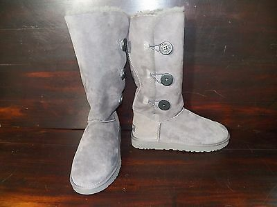 a8e411f5890 NEW WOMENS UGG Tall Bailey Button Triplet Grey Winter Sheepskin Suede Boots
