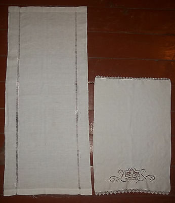 2 Antique Linen Towels Hand Embroidered Huck Lace Trim 21x14 Drawn Runner 35x15