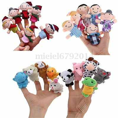 6/10/12 PCS Xmas Family Animal Finger Puppet Baby Kids Telling Story Plush Toy