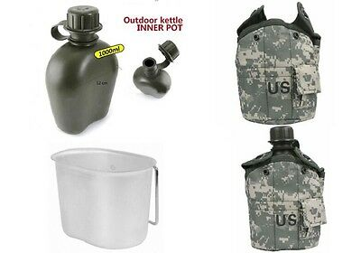 1L Army Military Canteen Hydration Water Bottle With Pouch /Cup Camo Outdoor