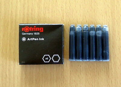 Rotring Artpen Ink Cartridge Black 1 Pack of 6