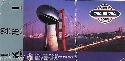 Dan Marino 1984 1985 Superbowl Xix San Francisco 49Ers Miami Dolphins Ticket