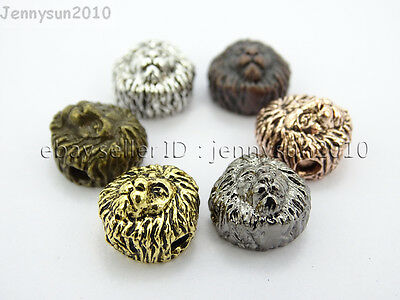Vintage Antique Metal Hollow Lion Head Bracelet Necklace Connector Charm Beads