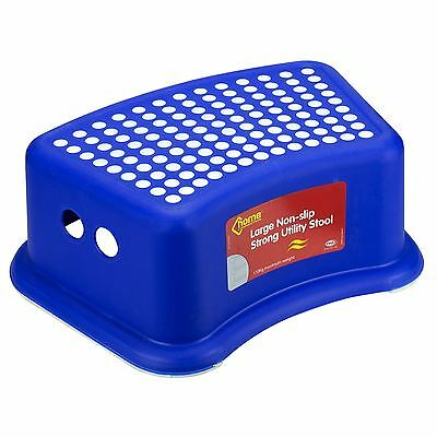 New Large Deluxe Kids Children Plastic Foot Step Stool Strong Anti-Slip Blue