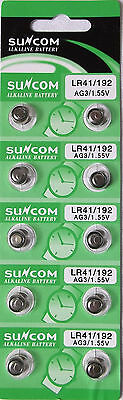 New 10 X Ag3 Lr41 392 Sr41 Alkaline Button Coin Cell Watch Batteries Suncom Ag3