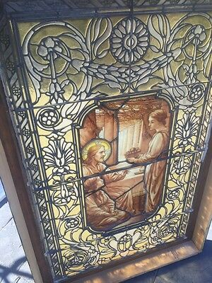 Rare Hand Painted LaFarge Stained Glass Window