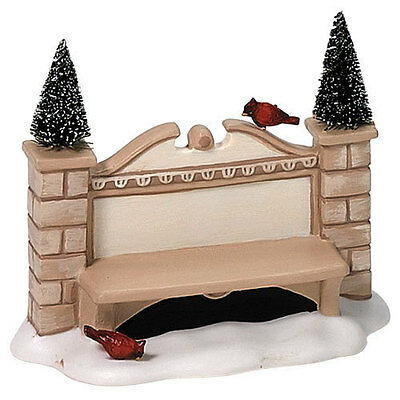 DEPT 56 VILLAGE SIGN AND BENCH Red Birds Can be Personalized #52882 MIB MINT!